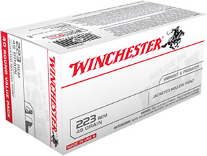 Winchester USA Centerfire Rifle Ammunition USA2232, 223 Remington, Jacketed Hollow Point, 45 GR, 3600 fps, 40 Rd/bx