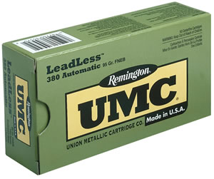 Remington UMC Leadless Handgun Ammunition LL380AP2, 380 ACP, Flat Nose Enclosed Base, 95 GR, 955 fps, 50 Rd/bx