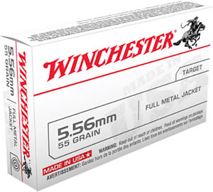 Winchester USA Centerfire Rifle Ammunition Q3131,5.56 NATO, ( 223 Remington), Full Metal Jacket, 55 GR, 3270 fps, 20 Rd/bx