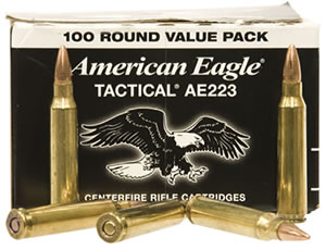 Federal American Eagle Tactical Ammunition AE223BL, 223 Rem, Full Metal Jacket, 55 GR, 100 Rd/Bx