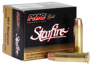 PMC Gold Line Premium Pistol/Revolver Ammunition 38SFA, 38 Special + P, StarFire Hollow Point, 125 GR, 950 fps, 20 Rd/bx