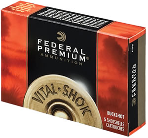 Federal Vital Shok Shotgun Shells P108F00, 10 Gauge, 3.5 in, 18 Pellets, 1100 fps, #00 Buck, 5 Rd/Bx