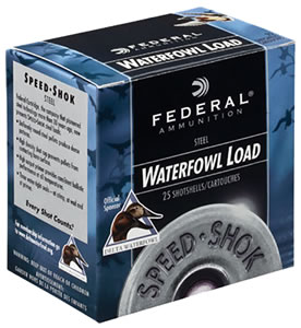 Federal Speed Shok Waterfowl WF140T, 12 Gauge, 3 in, 1 1/4 oz, 1400 fps, #T Steel Shot, 25 Rd/bx, Case of 10 Boxes