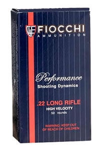Fiocchi Shooting Dynamics Ammunition 22FHVCHP, 22 Long Rifle, Copper Plated HP, 40 GR, 1260 fps, 50 Rd/bx