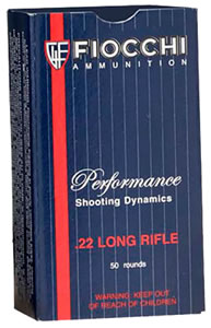 Fiocchi Shooting Dynamics Ammunition 22FLRN, 22 Long Rifle, Lead Round Nose, 40 GR, 1070 fps, 50 Rds/Box