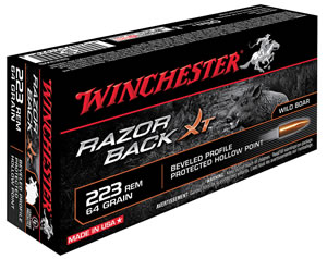 Winchester Razorback Ammunition S223WB, 223 Rem, Hollow Point, 64 GR, 3020 fps, 20 Rd/bx