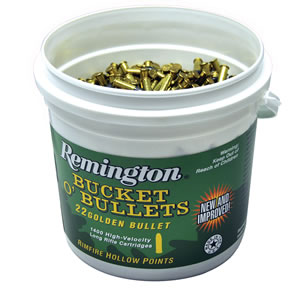 Remington 1622B High Velocity, Golden Bullet, 22 Long Rifle Ammunition, Plated Hollow Point, 36 Grain, 1400 Rounds, 4 Bucket