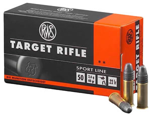 RWS 2132478 Target Rifle, Sport Line, 22 Long Rifle Ammunition, Lead Round Nose, 40 Grain, 50 Rounds, 1 Box