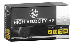 RWS 2132494 High Velocity, Field Line, 22 Long Rifle Ammunition, Hollow Point, 40 Grain, 50 Rounds, 1 Box