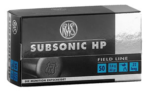 RWS 2132664 Subsonic, Field Line, 22 Long Rifle Ammunition, Hollow Point, 40 Grain, 50 Rounds, 1 Box