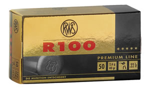RWS 2134195 R100, Premium Line, 22 Long Rifle Ammunition, C-Class, Lead Round Nose, 40 Grain, 50 Rounds, 1 Box