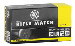 RWS 2134225 Rifle Match, Professional Line, 22 Long Rifle Ammunition, Lead Round Nose, 40 Grain, 50 Rounds, 1 Box