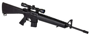 Crosman MSR77NP Tactical Air Rifle With 4x 32mm Scope, Break Open Action, .177 Cal, Black Finish