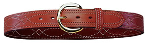 Bianchi Fancy Stitch Reversible Belt 38 in w/Suede Lining & Solid Brass Buckle, Model 12871