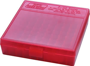 MTM P100929 100 Round 9MM/380 Pistol Ammo Box, Red