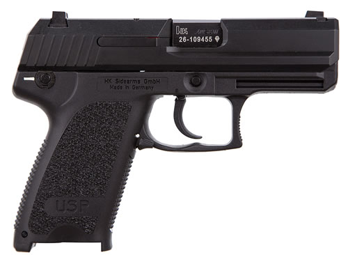 HK USP 40 Compact Pistol M704031A5, 40 S&W, 3.58 in BBL, Sngl / Dbl, Modular Syn Grips, 3-Dot Sights, Blue Finish, 12 + 1 Rds
