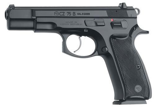 CZ Model 75B Pistol 01102, 9 MM, 4.7 in BBL, Sngl / Dbl, Blk Syn Grips, Fixed Sights, Blk Finish, 10 + 1 Rds