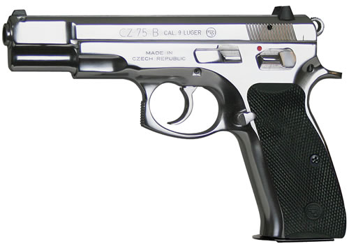 CZ Model 75B Pistol 91108, 9 MM, 4.7 in BBL, Sngl / Dbl, Blk Syn Grips, Fixed Sights, Hi Polished Stainless Finish, 16 + 1 Rds