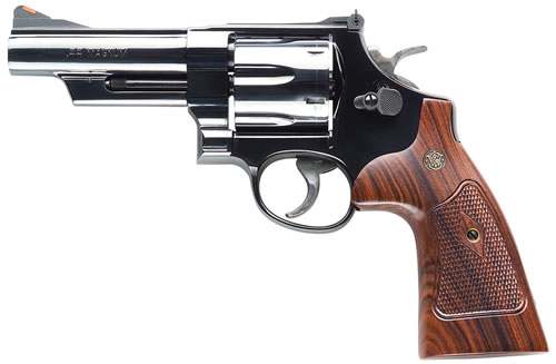 Smith & Wesson Model 29 Classic Revolver 150254, 44 Remington Mag, 4 in BBL, Sngl / Dbl, Square Butt Walnut Grips, Bright Blue Finish, 6 Rds