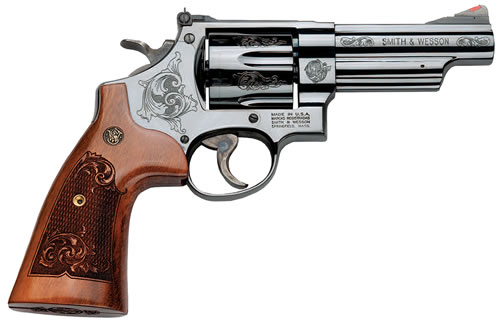 Smith & Wesson Model 29 Revolver 150783, 44 Remington Magnum, 4 in, Engraved Wood Grip, Blue Finish, 6 Rd
