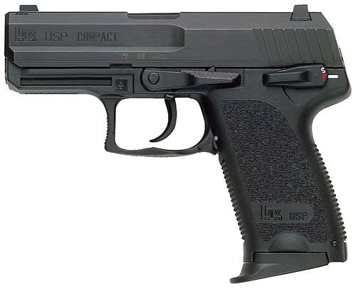 HK USP 45 V7 Compact LEM Pistol 704537A5, 45 ACP, 3.58 in, Semi-Auto, DAO, (No Manual Safety/Decocking Lever) Synthetic Grip, Black Finish, 10+1