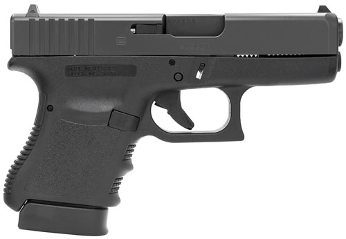 Glock Model 36 Subcompact Slimline Pistol PI36502, 45 ACP, 3.78 in BBL, Dbl Actn Only, Polymer Grips, Fixed Sights, Blk Finish, 6 + 1 Rds