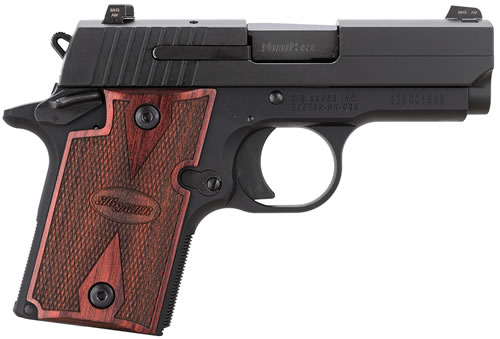 Sig Sauer Model P938 Rosewood Pistol 9389RGAMBI, 9 mm, 3 in, Rosewood Grip, Black Finish, 6 + 1 Rd