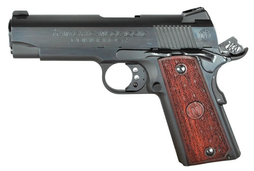 American Classic Commander 1911 Pistol ACC9B, 9mm, 4.25 in, Checkered Mahogany w/Diamond Cut Grip, Blued Finish, 9+1