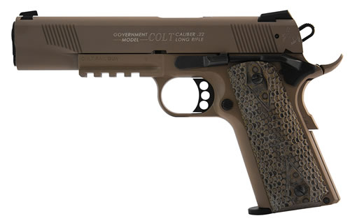 Walther Colt 1911 Government Tribute Pistol 5170310, 22 Long Rifle, 5 in, Rubber Grip, Flat Dk Earth Finish, 12+1 Rd, Rail