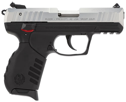 Ruger SR22PS Pistol 3607, 22 Long Rifle, 3.5 in, Syn Grip, Silver Finish, 10+1 Rd