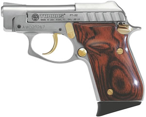 Taurus Model PT-22 Small Frame Pistol 1220035G, 22 Long Rifle, 2 3/4 in BBL, Dbl Actn Only, Rosewood Grips, Fixed Sights, Nickel Finish, 8 + 1 Rds