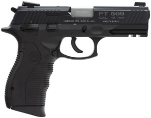 Taurus Model 809 Pistol 1809041, 9 MM, 4 in BBL, Sngl / Dbl, Rubber Grips, 3-Dot Fixed Sights, Blue Finish, 17 + 1 Rds
