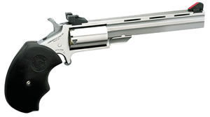 NAA Mini Master Revolver MMTC, 22 LR / 22 WMR, 4 in BBL, Sngl Actn Only, Blk Rubber Grips, Adj Sights, Stainless Finish, 5 Rds