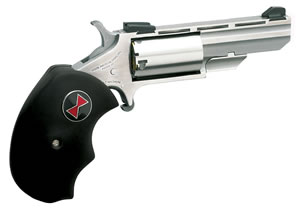 NAA Black Widow Revolver BWC, 22 LR / 22 WMR, 2 in BBL, Sngl Actn Only, Blk Rubber Grips, Fixed Sights, Stainless Finish, 5 Rds