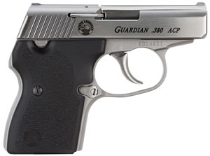 NAA Guardian Pistol, 380 ACP, 2 1/2 in BBL, Dbl Actn Only, Blk Rubber Grips, Fixed Sights, Stainless Finish, 6 + 1 Rds