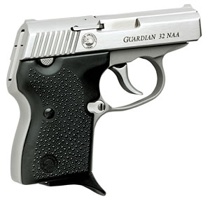 NAA Guardian Pistol, 32 NAA, 2 1/2 in BBL, Dbl Actn Only, Blk Rubber Grips, Fixed Sights, Stainless Finish, 6 + 1 Rds
