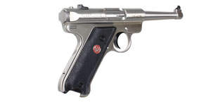 Ruger Mark III Model KMKIII4 Rimfire Pistol 10116, 22 Long Rifle, 4 3/4 in BBL, Sngl Actn Only, Blk Syn Grips, Fixed Sights, Stainless Finish, 10 + 1 Rds