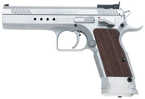 EAA Witness Limited Pistols 600340, 45 ACP, 4.75 in BBL, Sngl Actn Only, Wood Grips, Adj Sights, Stainless Finish, 10 + 1 Rds