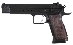 EAA Witness Hunter Tanfoglio Pistol 600252, 10 MM, 6  in BBL, Single Action Only, Wood Grips, Adj Rear Sights, Blue Finish, 14 Rds