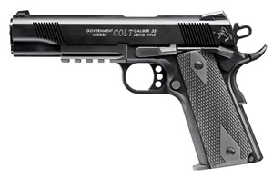 Walther Colt 1911 Government Tribute Pistol 517030810, 22 Long Rifle, 5 in, Rubber Grip, Black Finish, 10+1 Rd, Rail