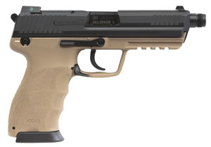 HK 45 V1 Tactical Pistol 745001TTLEA5,  45 ACP, 4.5 inch Threaded BBL, Single/Double, Black Interg Backstrap Grips, Night Sights, Tan/Black Finish, Safety/Decocking Lever, 10+1 Rds, 3 Mags
