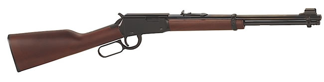 Henry Lever Youth Rifle H001Y, 22 Long Rifle, Lever, 16 1/8 in, Walnut Stock, Blue Finish, 12 +1 Rd