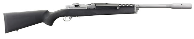 Ruger Mini 14 Target Rifle 5828, 223 Remington, Semi-Auto, 22 in, Hogue OverMold Stock, Stainless Finish, 5 + 1 Rd