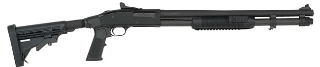 Mossberg Model 590 A1 Civilian Shotgun 53693, 12 Gauge, 20 in,  Pump, Collapsible Alum Stock, Black Finish, Tri-Rail, Parkerized Finish, 9 Rds