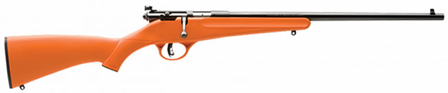 Savage Rascal Youth Rifle 13810, 22 LR, Bolt Action, Orange Syn Stock