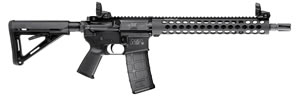 Smith & Wesson Model M&P-15 TS Rifle 811024, 5.56mm, 14.5 in, Semi Auto, Magpul MOE Adj Buttstock, Black Anodized Finish, Troy Handguard, Pinned Muzzle Brake, 30 Rds