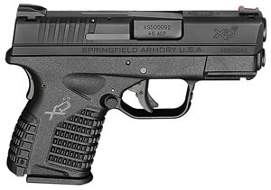 "Springfield XDS93345BE XDS Essential Pistol, 45 ACP, 3.3"" BBL, Double Act, Black Polymer Grips, Fib Opt Front, Fixed Dovetail Rear Sights, Black Finish, 5+1 Rds"