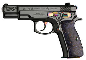 "CZ 91144 Model 75 40th Anniv Edition Pistol, 9mm, 4.6"" BBL, Double Act, Maple Grips, Fixed Sights, Blued Finish, 16+1 Rds"