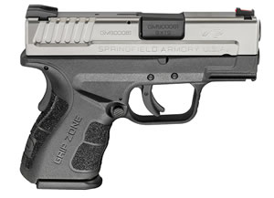 "Springfield XDG9821HCSP XD Mod 2 Sub Compact Two Tone Pistol, 9mm, 3"" BBL, Double Act, Black Polymer Grips, Fib Opt Front, Lo-Profile Rear Sights, Black Finish, 13+1/16+1 Rds"