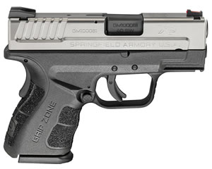 "Springfield XDG9822HCSP XD Sub Compact Two Tone Pistol, 40 S&W, 3"" BBL, Double Act, Black Polymer Grips, 3-Dot Dovetail Sights, Black Finish, 9+1/12+1 Rds"